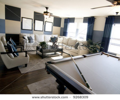 Stylish Modern Luxury Game Room Interior Design With Pool Table In Foreground. Stock Photo 9268309 : Shutterstock