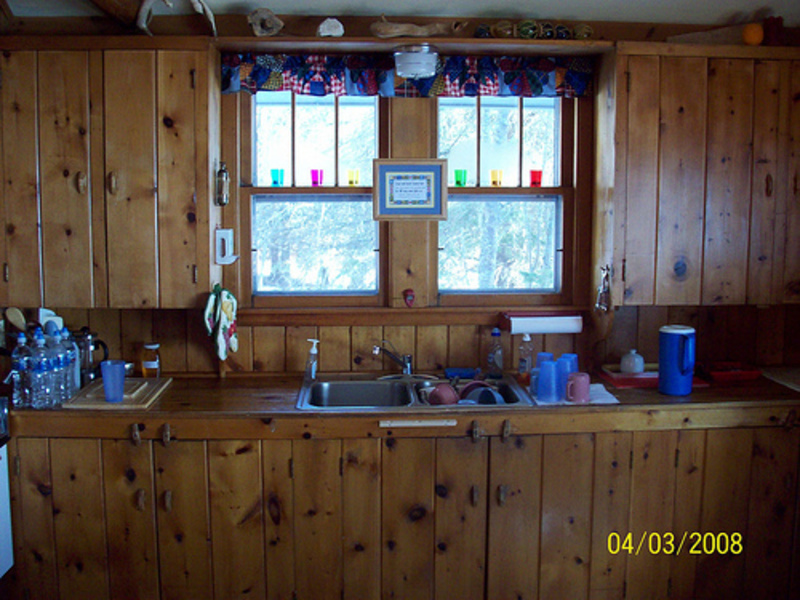 Rustic kitchen with wood wall paneling design bookmark 2030 for Country rustic kitchen ideas
