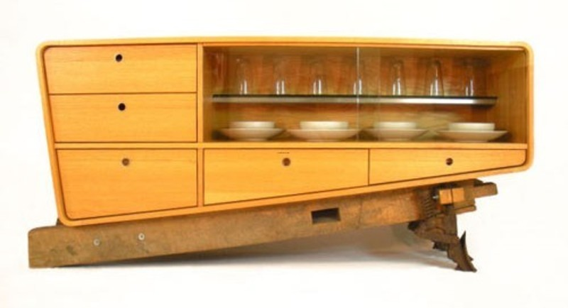 Contemporary Furniture, Coban Dining Room Buffet Made From Oak Hardwood And Recycled Materials
