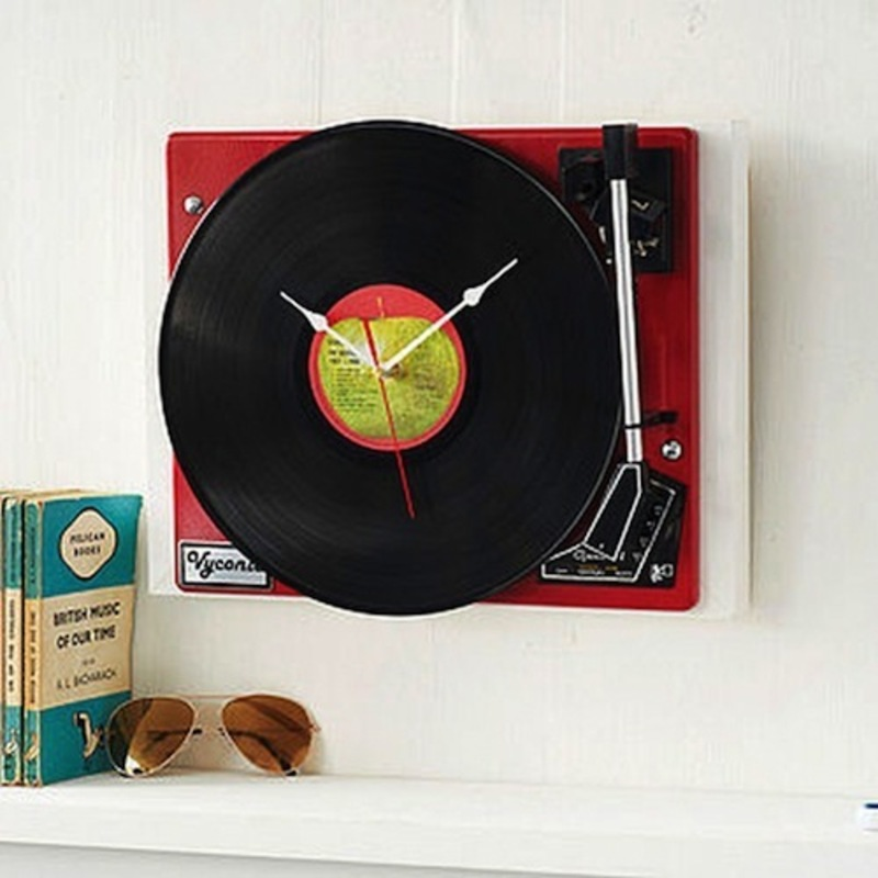 Home Accessories, Vintage Garrad Record Player Clock For Retro Decor