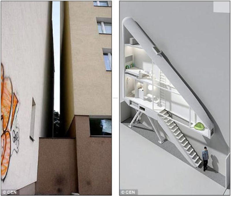 Modern Architecture, Thinnest House In the World Needs Its Own Alley