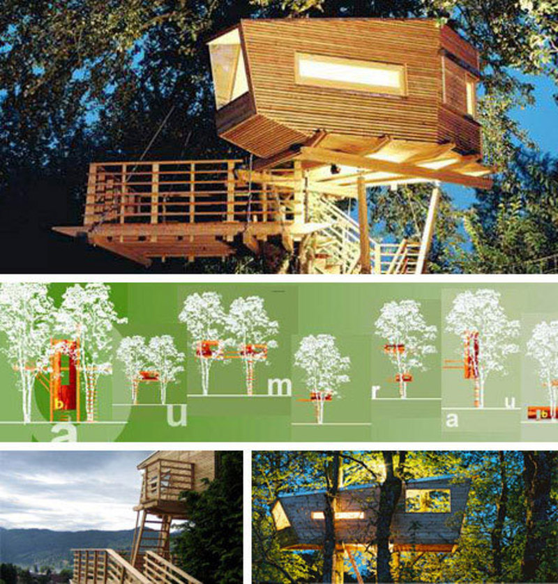 10 amazing tree houses plans pictures designs design for Modern tree house plans