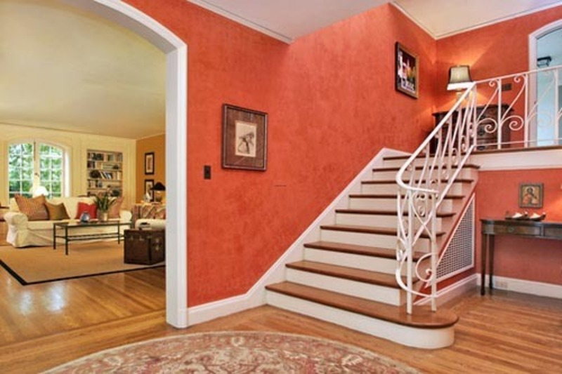 Interior Wooden Floor, Interior Home Design foyer with red wall wooden floor and staircase