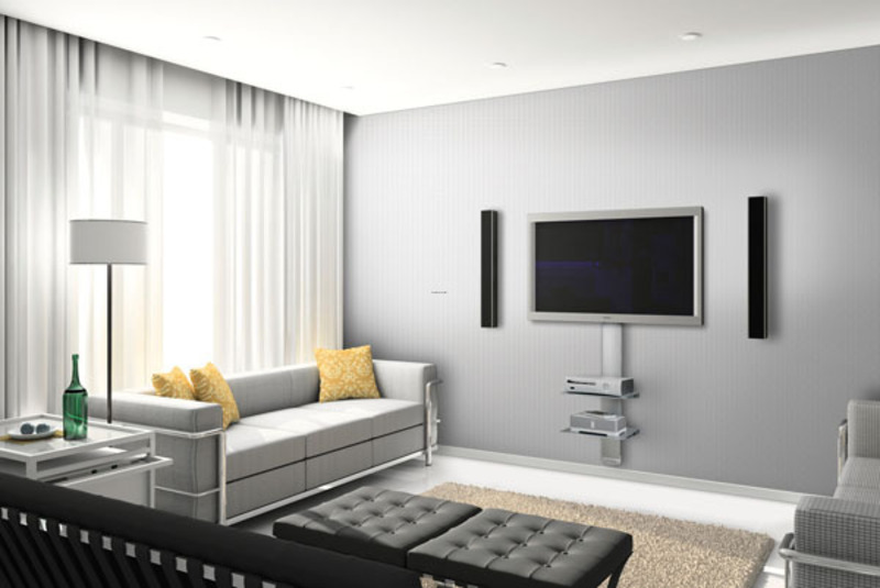 Contemporary living room decorating with wall mount tv - Hanging tv on wall ideas ...