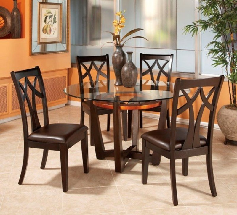 Round Glass Top Dining Table Set W 4 Wood Back Side Chairs Design Bookmark