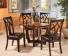 Round Glass Top Dining Table Set w 4 Wood Back Side Chairs