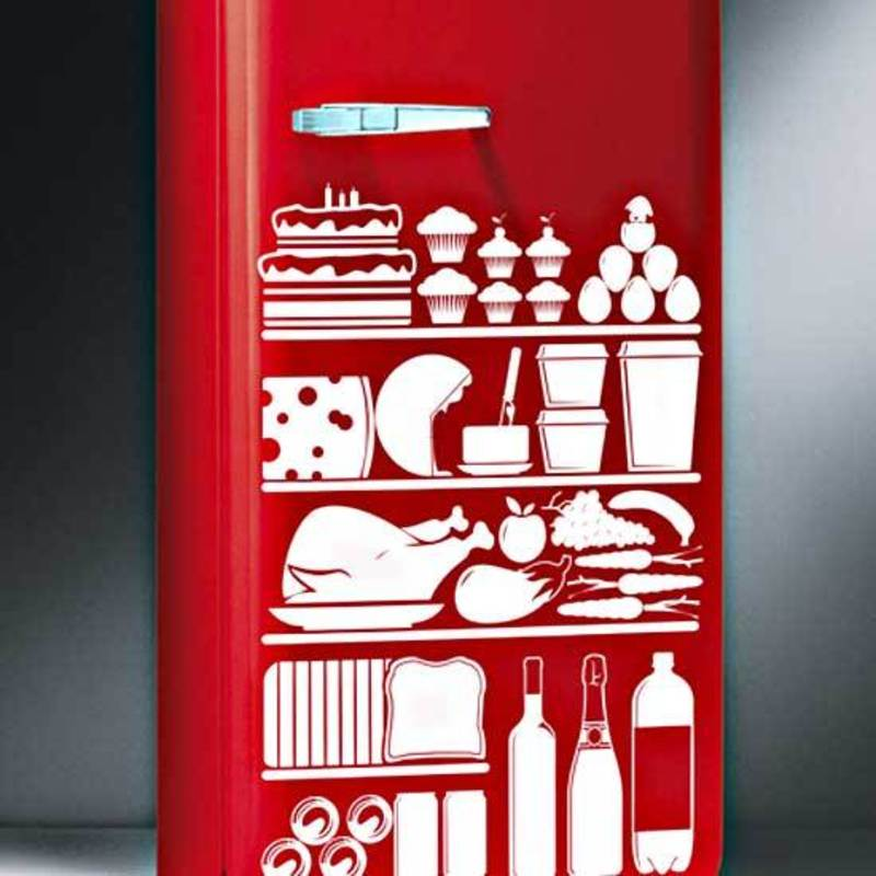 Kitchen vinyl stickers food refrigerator decor on exterior for Vinilos para neveras
