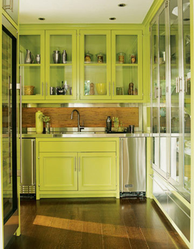 Yellow kitchen wall color serene green design bookmark for Green kitchen cabinets
