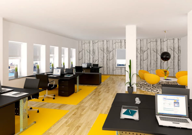 Clean and bright line modern office interior design Clean modern interior design