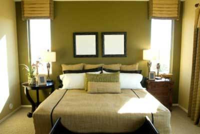 Green Feature Wall Color Small Bedroom Interior Design Design Bookmark 2525