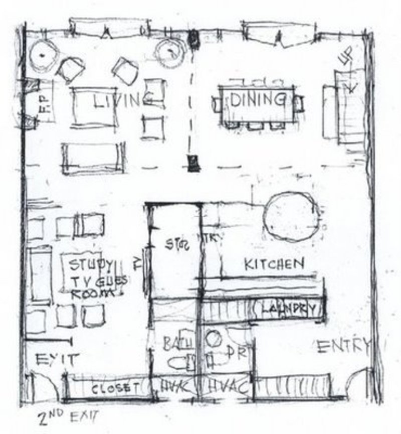 Jill seidner interior design the napkin sketch design for Floor plan sketch