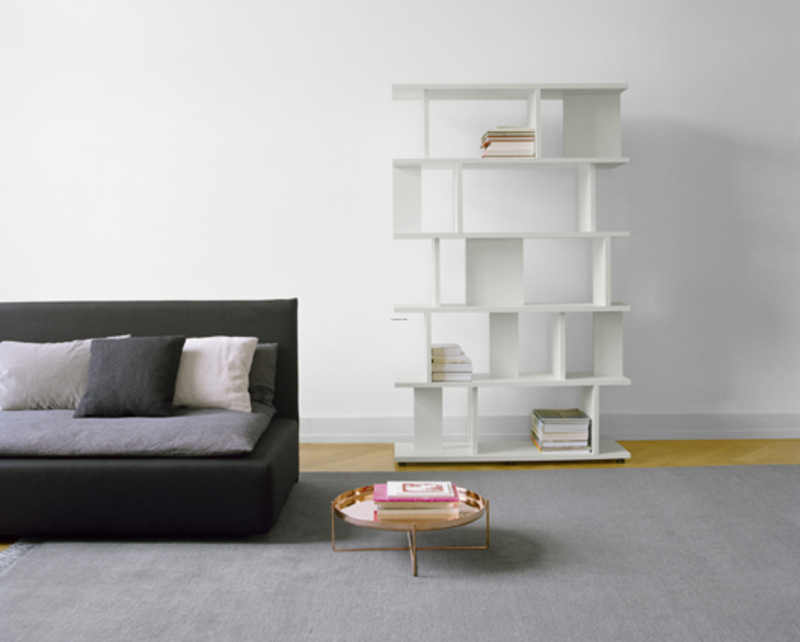 Attractive white free standing book shelf design for Living room shelves