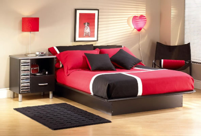 Contemporary Red Black Teenage Girls Bedroom Furniture Sets Chic Choice Be