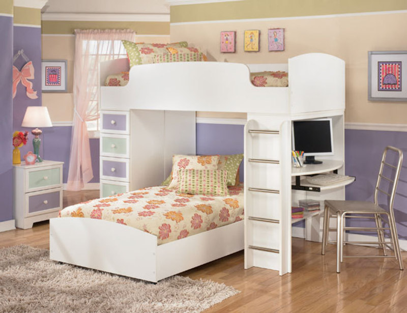 The Furniture White Kids Bedroom Set With Loft Bed In
