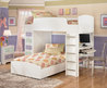 THE FURNITURE :: White Kids Bedroom Set with Loft Bed in Transitional Style, Madeline Collection, FREE SHIPPING