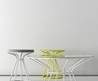 Modern Coffee Tables and Stool with Restrained by Circle Painted Metal Structures by Enrico Zanolla and Andrea Di Filippo of dzStudio