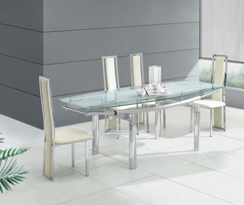 Best Picture Of Modern And Luxury Extending Transparent  : modern glass dining table from davinong.com size 800 x 674 jpeg 218kB