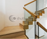 Contemporary Stair Case With Wooden Steps And Glass Rails Stock Photo 37389700 : Shutterstock