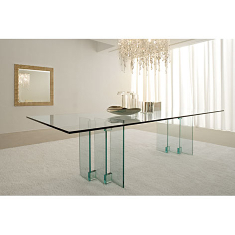 Modern Italian Glass Top Dining Table Design By