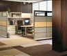 home office design with wood partition