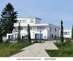 Modern White House With A Flat Roof On A Hill With Expanded Stairs In Front Stock Photo 35433604 : Shutterstock