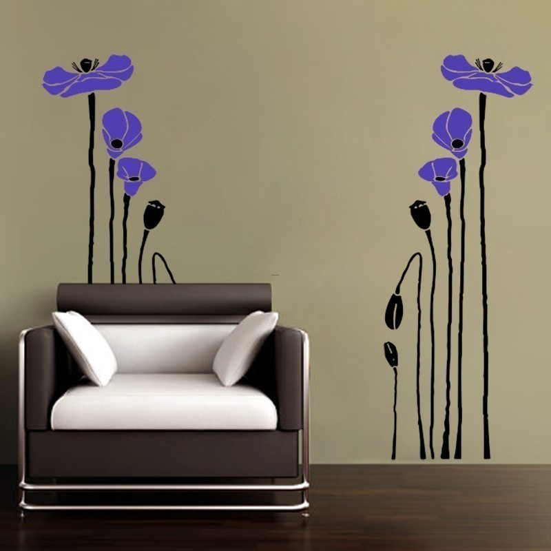 Vinyl Wall Art Decal Poppy Flowers 2 Colors Wall Art By