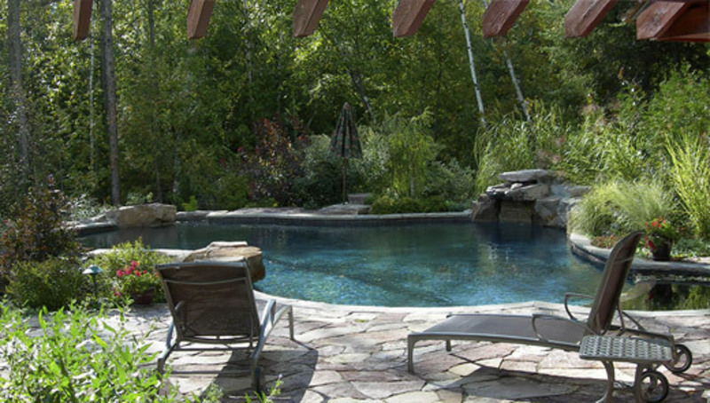 Pool landscaping ideas casual cottage - Landscape and pool design ...