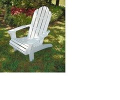 Outdoor Patio Adirondack Beach Chair – White
