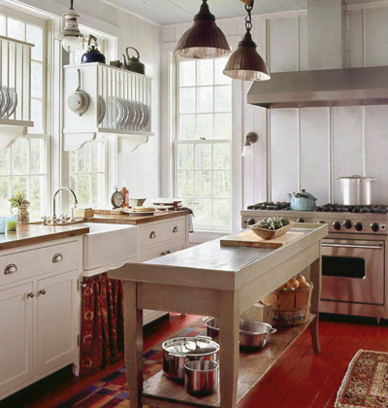 Home design living room cottage kitchens for Farmhouse style kitchen lighting