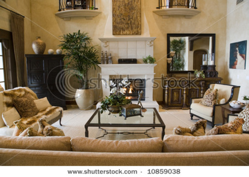 Luxury Home Living Room With Contemporary Decor Stock
