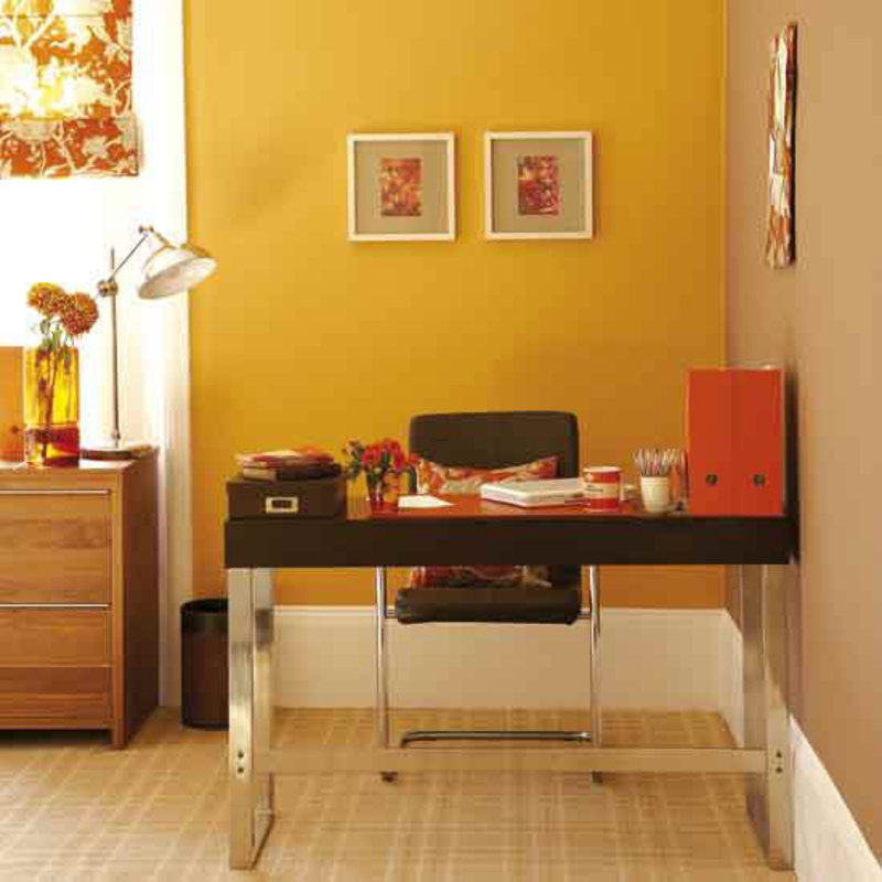 Yellow home office space decorating ideas office design for Office room decoration ideas