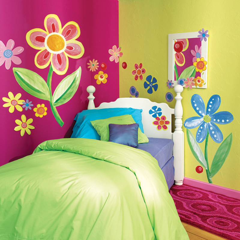 Kids wall mural bedroom ideas design bookmark 3865 - Flower wall designs for a bedroom ...