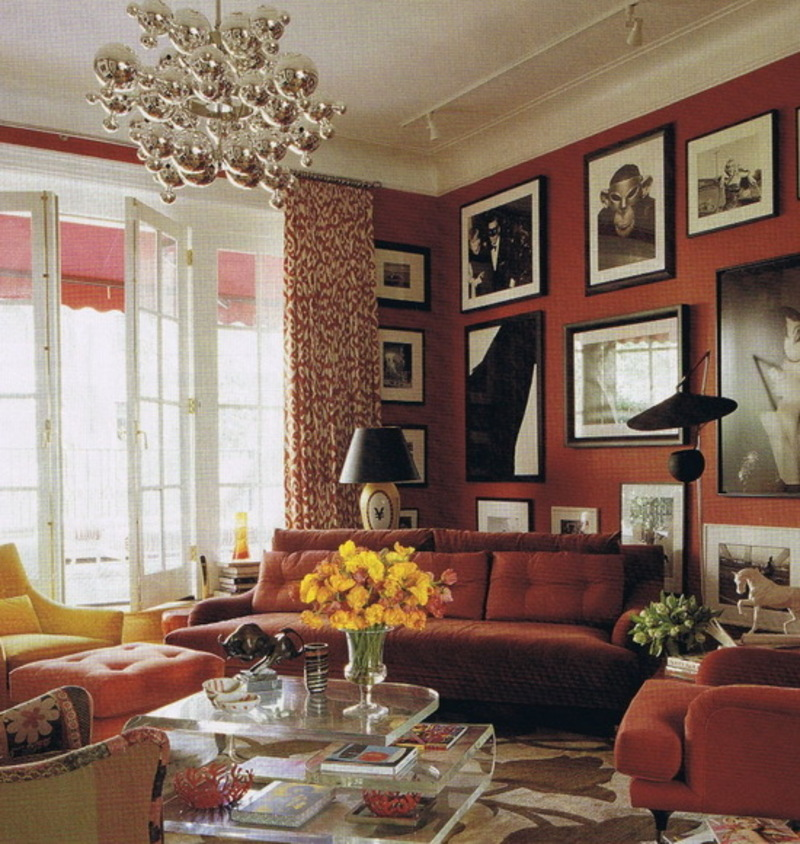 Red And White Living And Family Room Design Ideas Design