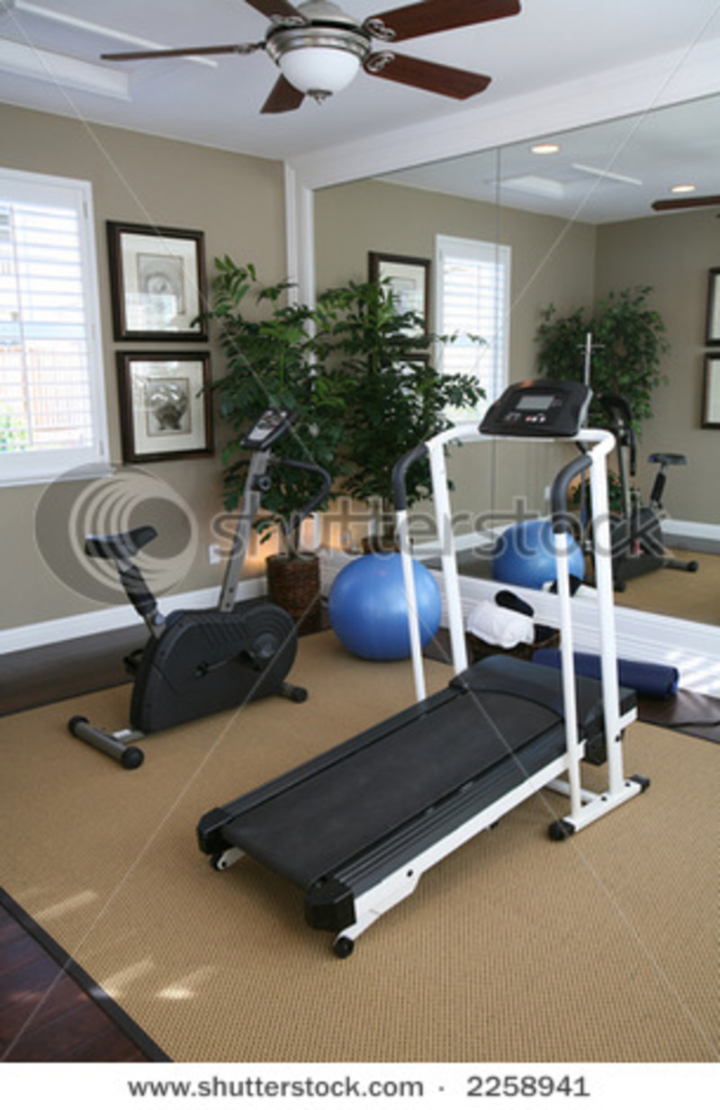 An Exercise Room Inside A Residential Home Stock Photo