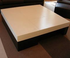 Concrete coffee table cast in four pieces, designed by and executed for William McIntosh Design