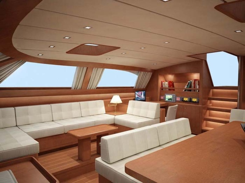 The baltic 112 sailing yacht nilaya saloon interior design for Yacht interior design decoration