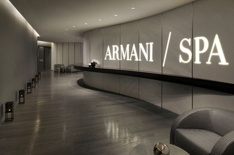 Fwd interiors of armani hotel dubai burj khalifa for Hotel spa design
