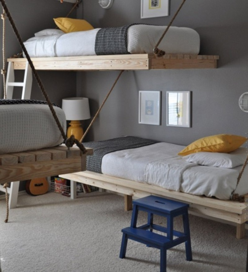 Practical stylish space saving bedroom design ideas for three boys with diy hanging beds - Saving space bedroom ...