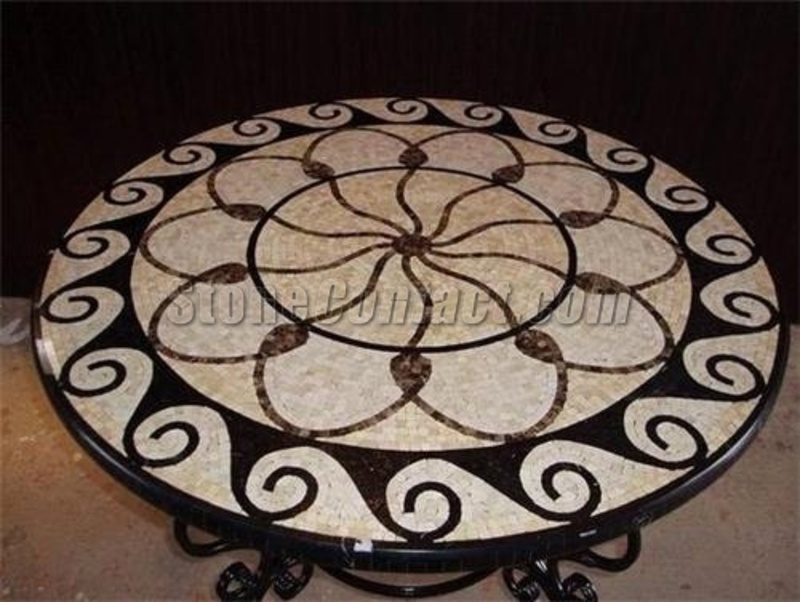 Mosaic Table Top Designs, Marble Mosaic Table Top Patterns(Round)