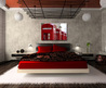 bedroom interior decoration digital photo canvas – Luxurious bedroom in red