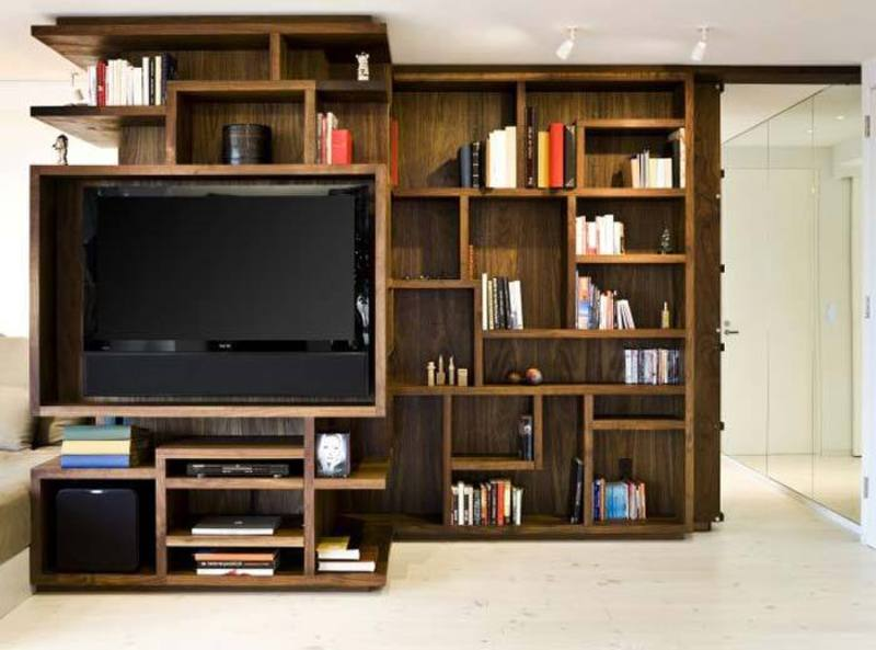 small nyc studio apartment decorating ideas and interior bookcase tv