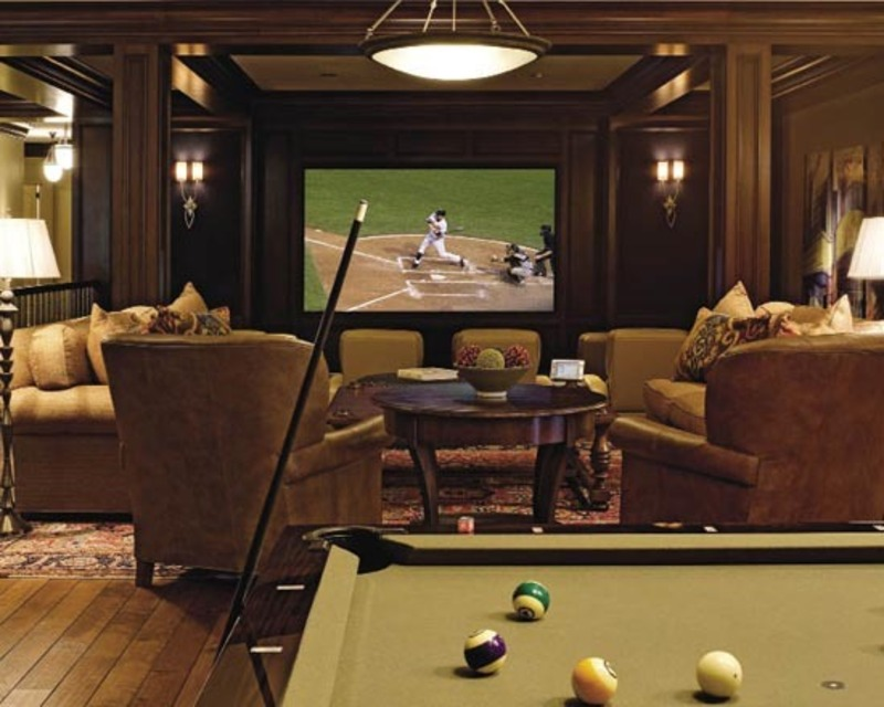 Formal home theater room combined with fun family room for Furniture for media room