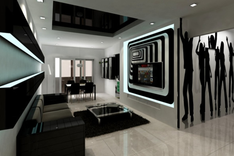 Black and White Living Room Designs 800 x 533