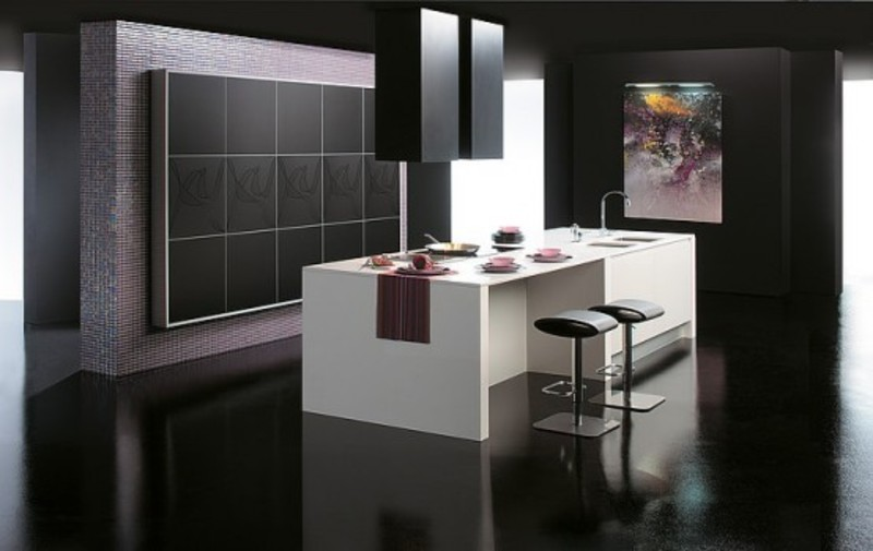 Black Kitchen Design, Contemporary Black Kitchen Design Idea by Gabanes