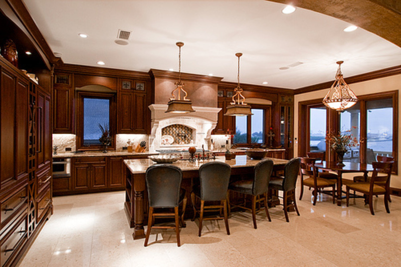 Luxury Kitchen And Dining Room Design With Elegant Lighting Fixtures Design