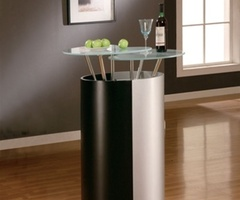 Elegant Silver Black Modern Home Bar 777 by Global Furniture