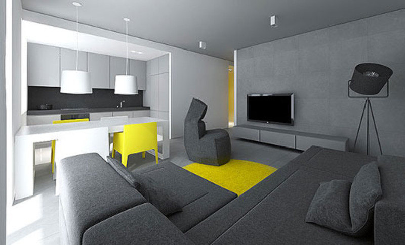 Modern small flat interior design by tamizo architects for Home interior for small flats