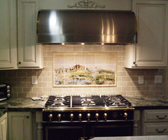 Kitchen Backsplash Tile Murals of Tuscany Landscape 