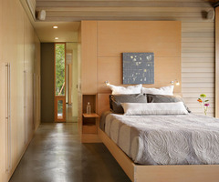 wooden bedroom interior design open airy form 