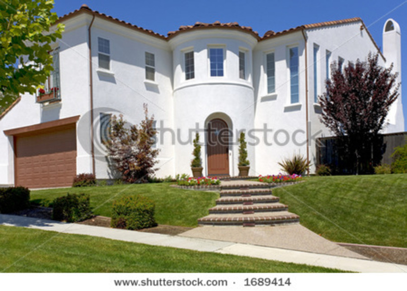 Exterior Shot Of A New Spanish Of Mediterranean Styled Home Stock